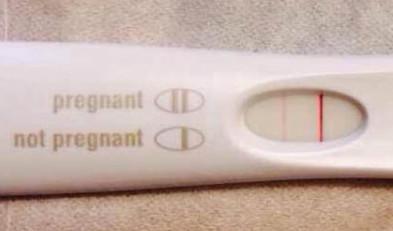 (上图验孕棒显示成功怀孕)